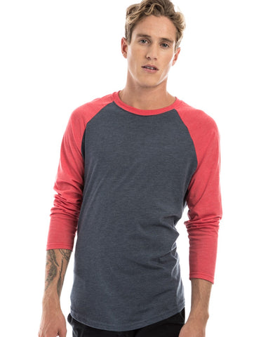 RSKE Raglan 3/4 Sleeve T-Shirt, Charcoal / Heather Red