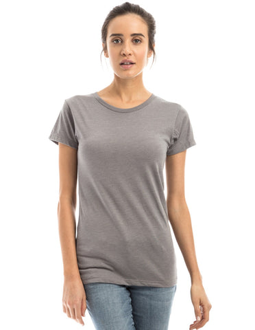 RSKE Women's 52/48 Cotton Poly Blend Short Sleeve T-Shirt, Slate Heather