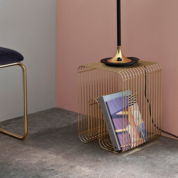 CURVA Wire Stool & Shelf | Gold