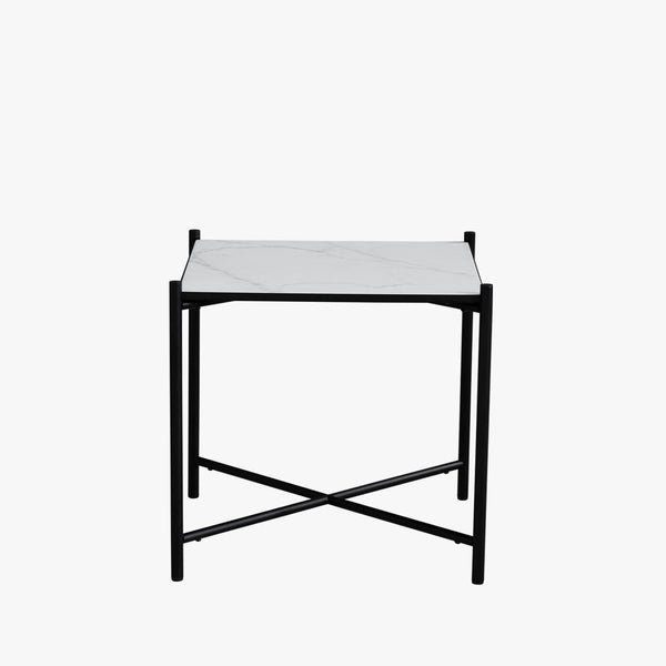 Handvärk Side Table | Black/White Marble