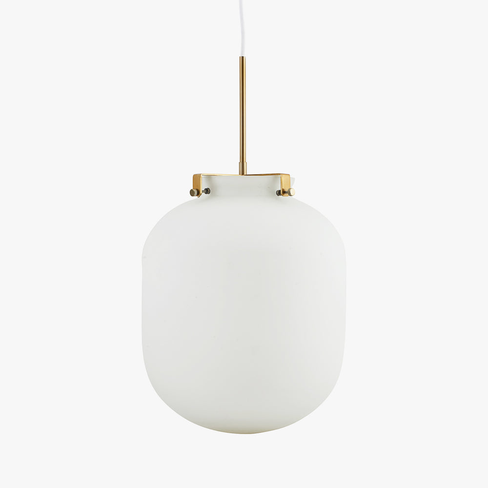 Opal White Glass With Brass