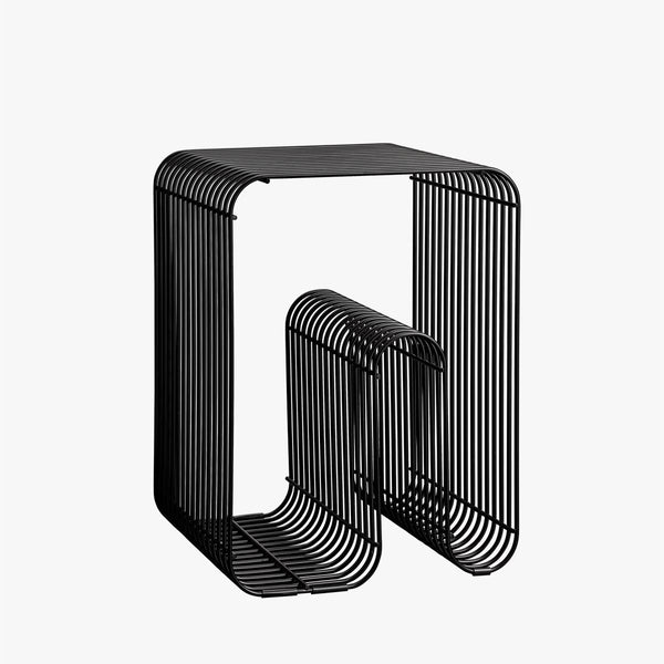 CURVA Wire Stool & Shelf | Black