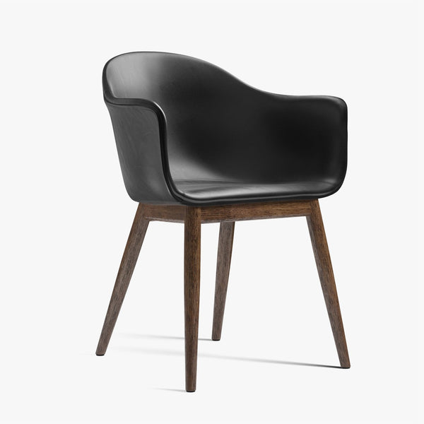 Harbour Chair | Black Leather / Dark Oak