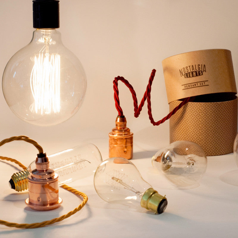 Nostalgia Lights Edison Pendant Set With Shade Ring