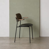 Co Chair w/Armrest | Dark Oak / Black Leather