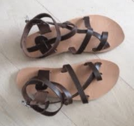 Leather Flat Sandals - Persian Style Dark Brown