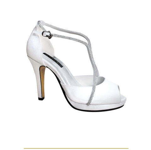 White satin and crystals peep toe sandals  - Large width
