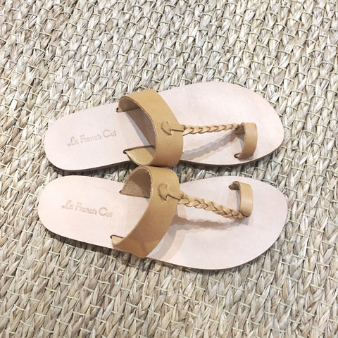 Leather Flat Sandals - Egyptian Style Natural