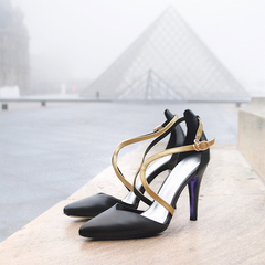 Winter Limited - Black and Gold pointy leather Pumps