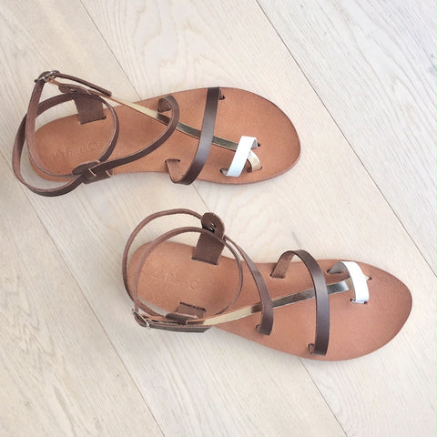 Leather Flat Sandals - Persian Style Gold