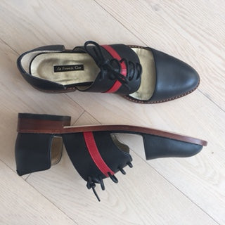 Winter Limited - Black and Red leather cut-out Derbys