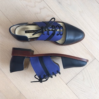 Winter Limited - Dark Navy and Lavender blue leather cut-out Derbys