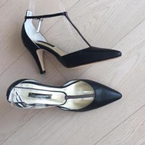 Winter Limited - Black and Grey Glitters T-strap pumps