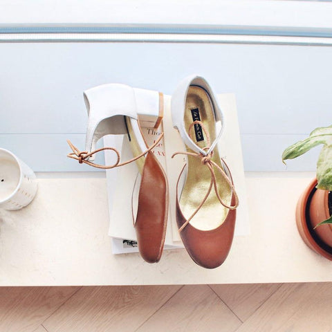 Spring Limited - Brown and White leather pumps