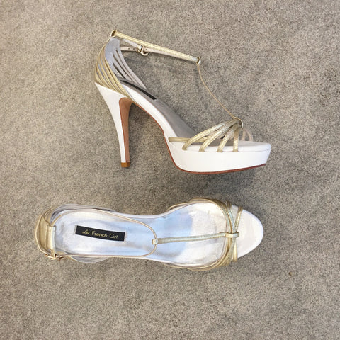 Summer Limited - White and Gold strappy platform sandals