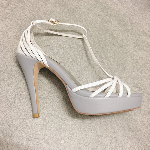 Summer Limited - White  and grey strappy platform sandals