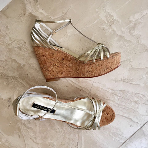 Gold and cork strapy wedges