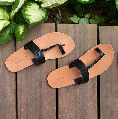 Leather Flat Sandals - Egyptian Style Black