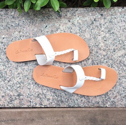 Leather Flat Sandals - Egyptian Style White