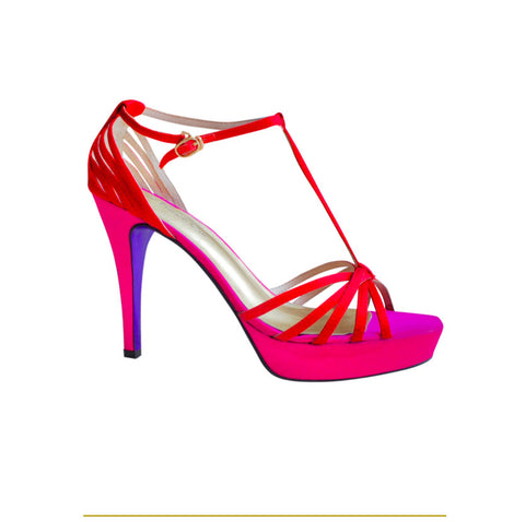 Summer Limited - Red and pink strappy platform sandals