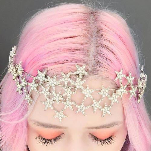 Kayla Hadlington wears our Star Halo Crown-Spoiled Brat