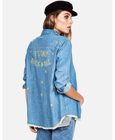 Lauren Moshi Sloane It's Only Rock N Roll Denim Shirt