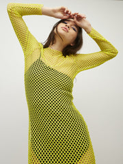 New Girl Order Fluro Yellow Fishnet Maxi Dress as seen on Lauren Mayberry Chvrches
