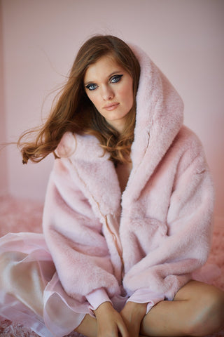 SELKIE The Bunny Pink Faux Fur Jacket