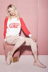 Wildfox Cherry Coke Contrast Fiona Crew as seen on Lucy Fallon