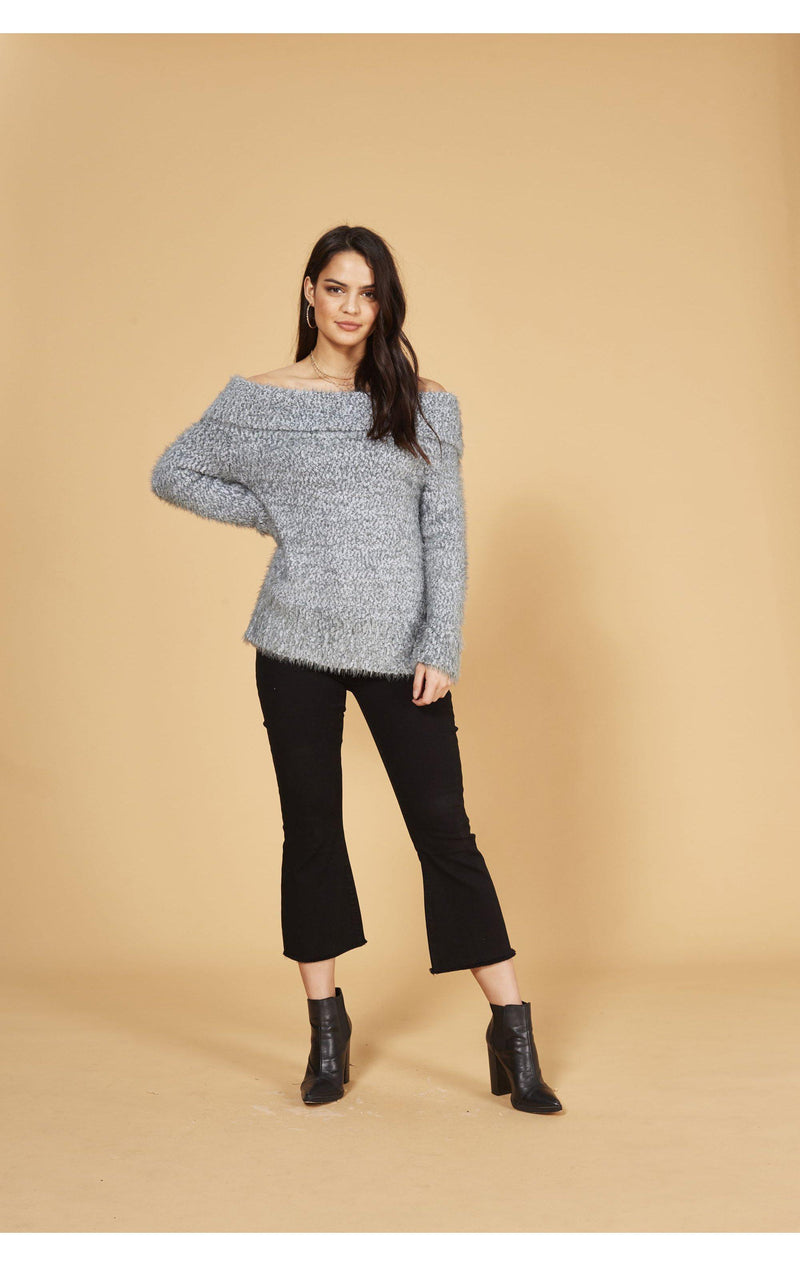 Shop MINKPINK Just You Knit Off The Shoulder Jumper as seen on Vanessa Hudgens-Jumper-[product _vendor]-XS-Spoiled Brat online UK women's Fashion boutique