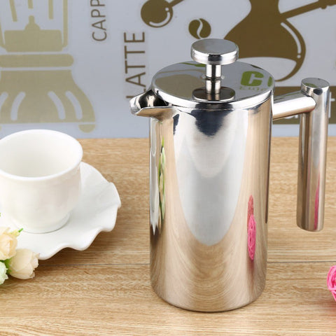 Appliances - 350ML Espresso Coffee Maker Pot Practical Stainless Steel Cafetiere Double Wall Insulated Tea Coffee Maker With Filter For Home