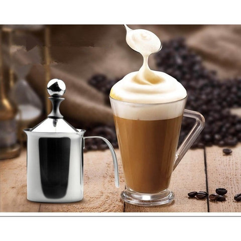 Appliances - 400ML Stainless Steel Double Mesh Milk Frother Milk Foamer Milk Creamer Kitchen Tool Fancy Coffee Machine