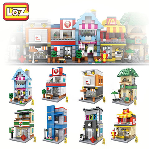 Blocks - 8 Styles Mini Street Architecture Model Mini Blocks Street Scene Children DIY Toy For Ages 6+