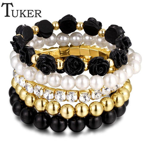 Sunday Gold - Black Multilayer Elastic Bracelet