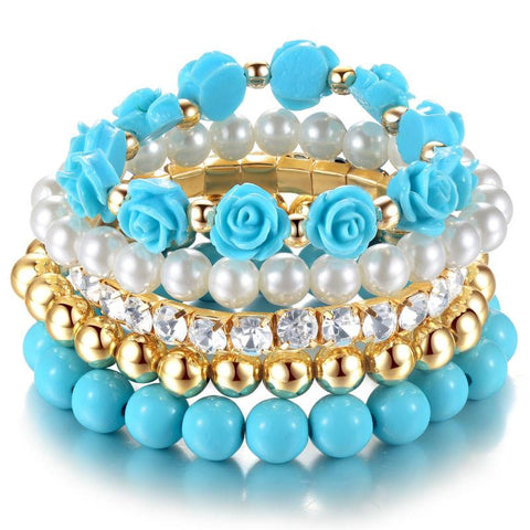 Sunday Gold - Blue Multilayer Elastic Bracelet