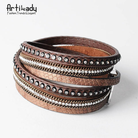 Sunday Gold - Brown Leather Wrap Bracelet