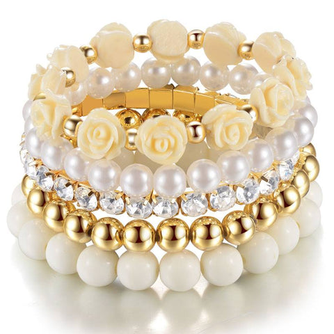 Bracelets - Cream Multilayer Elastic Bracelet