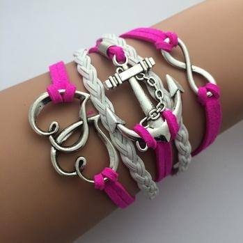 Bracelets - Pink Anchor Fashion Multilayer Bracelet