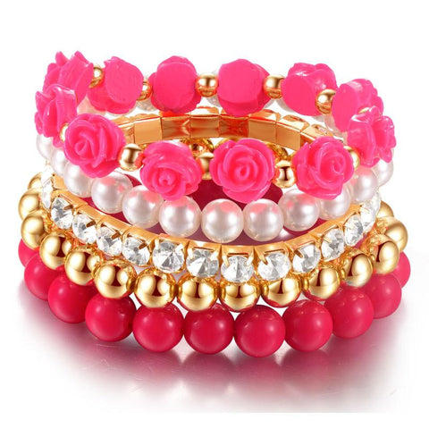 Bracelets - Rose Multilayer Elastic Bracelet