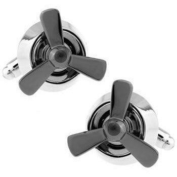 Cufflinks - Grey Propeller Cufflinks
