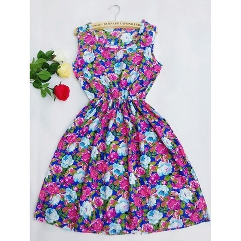 Sunday Gold - Blue and Purple Floral Pattern Sleeveless Print Dress