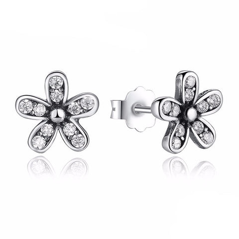 Earrings - Sterling Silver Dazzling Daisy Stud Earrings