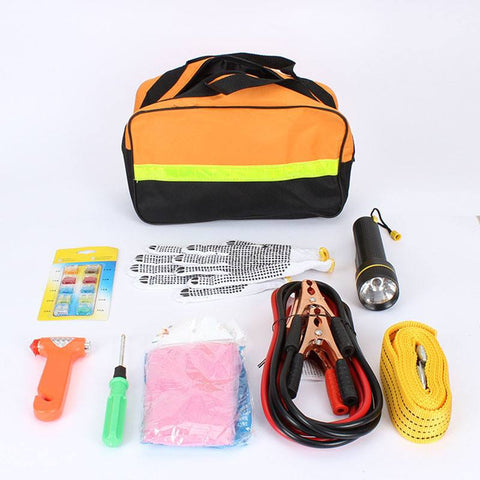 Emergency - Car Emergency Kits 9 PCS Auto Roadside Emergency Tool Supplies Kit Bag Flashlight Car Breakdown Safety Equipment Survival Gear