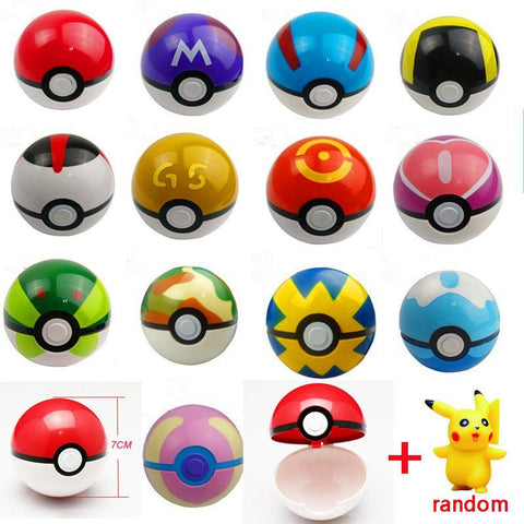 Figures - 13Styles 1Pcs Pokeball + 1pcs Free Random Figures Inside Anime Kids Action Figures Toys