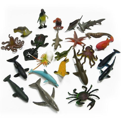Figures - 24 Pcs Marine Life Sea Animal Set  Whale Shark Octopus Penguin Children Gift Dolphin Turtle Crab Model Toys