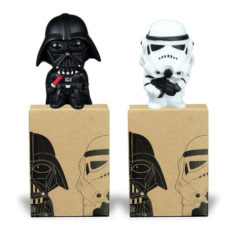 Figures - 2pcs Star Wars Darth Vader Stormtrooper PVC Model Action Figure Black Warrior Clone Trooper Toy Original Box