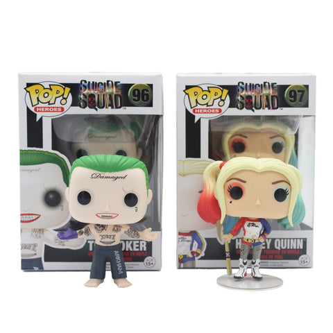 Figures - Funko Pop Original 96# 97# Suicide Squad Boomerang Batman Joker Harley Quinn Deadshot Rick Katana Collectible Vinyl Figure Model