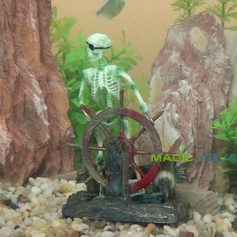 Fish - Skeleton On Wheel Fish Tank Decoration