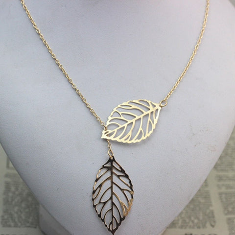 Necklaces - Fashion Double Leaf Necklace