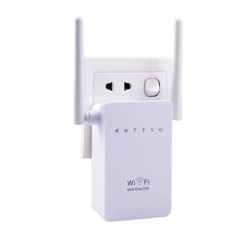 Sunday Gold - 300Mbps Brand New WiFi Repeater Network Range Extender Booster N300 Wi-Fi Single Increase Dual External Antennas EU/US Plug
